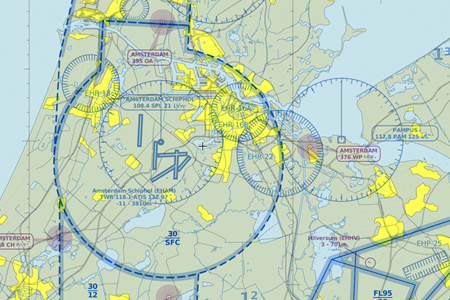 VFR map of Amsterdam Airport Schiphol