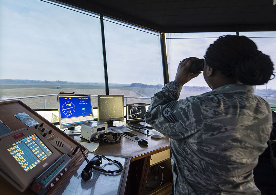 Air traffic controller in USAF tower (U.S. Air Force photo/Staff Sgt. Sara Keller)