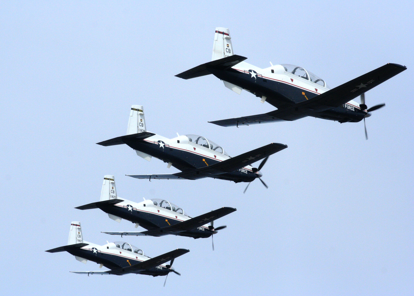 The T-6A Texan II is a single-engine, two-seat trainer teaching basic flying skills.