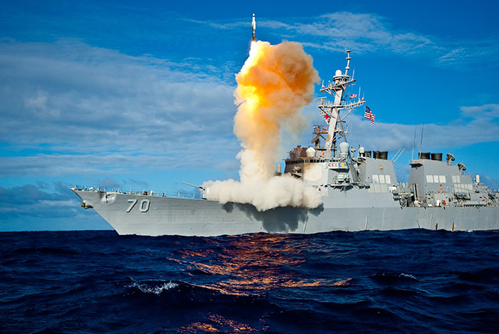 Aegis cruiser launching a missile